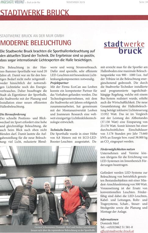 Artikel über EcoCan im Magazin Stadtwerke Bruck 11 2019
