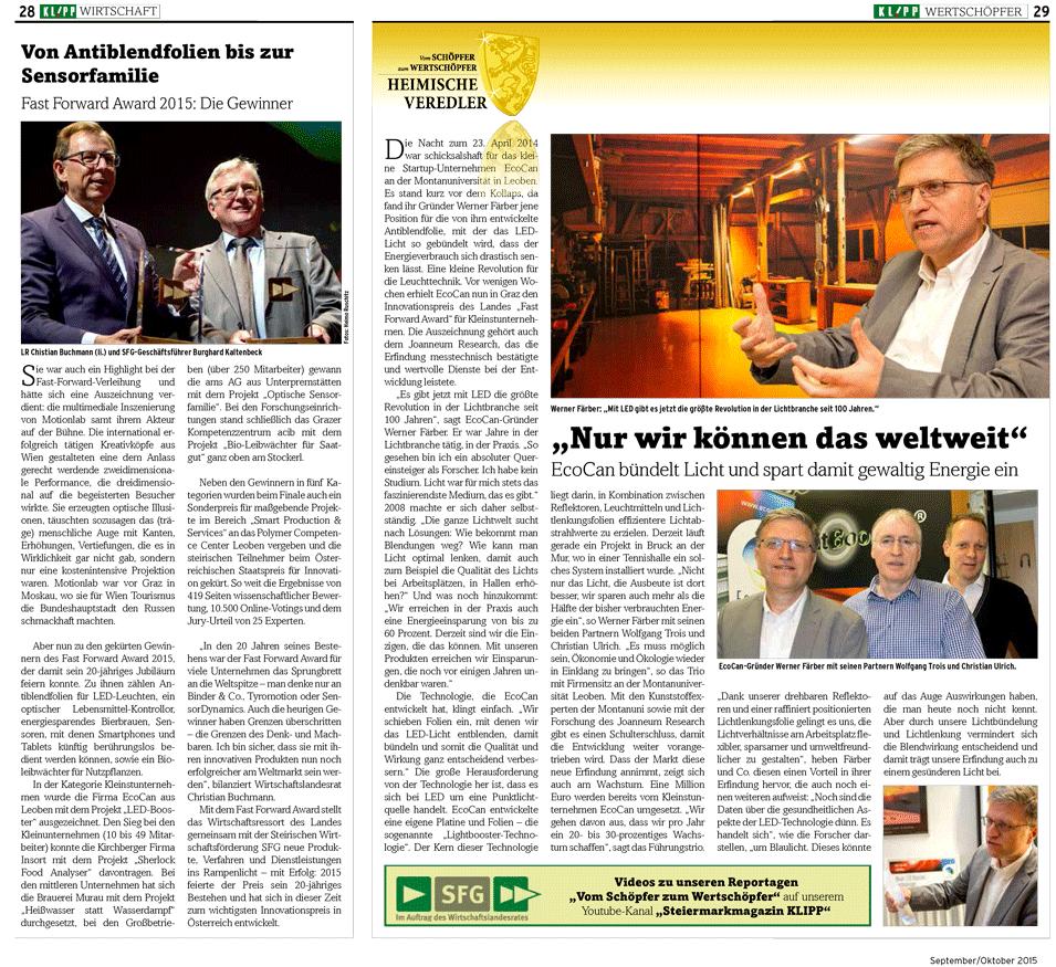 Artikel über EcoCan im Magazin Klipp Wirtschaft 9-10 2015